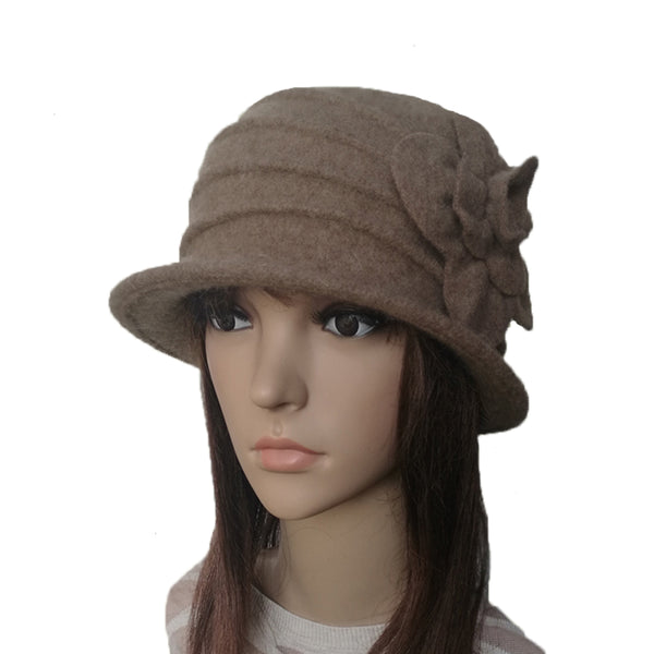 Brown Winter Felted Cloche Hat