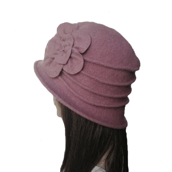 Pink Winter Felted Cloche Hat