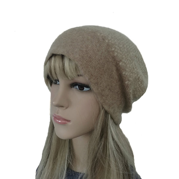 Brown/Beige Winter Felted Wool Beanie