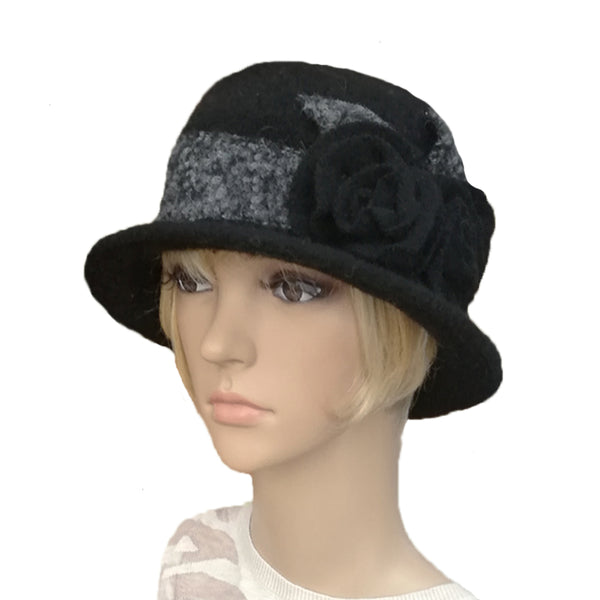 Wholesale Black Women's Cloche Winter Felted Hat