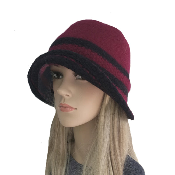 Wholesale Cloche Striped Felted Hat