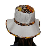 White/Orange Summer Linen Women's Hat