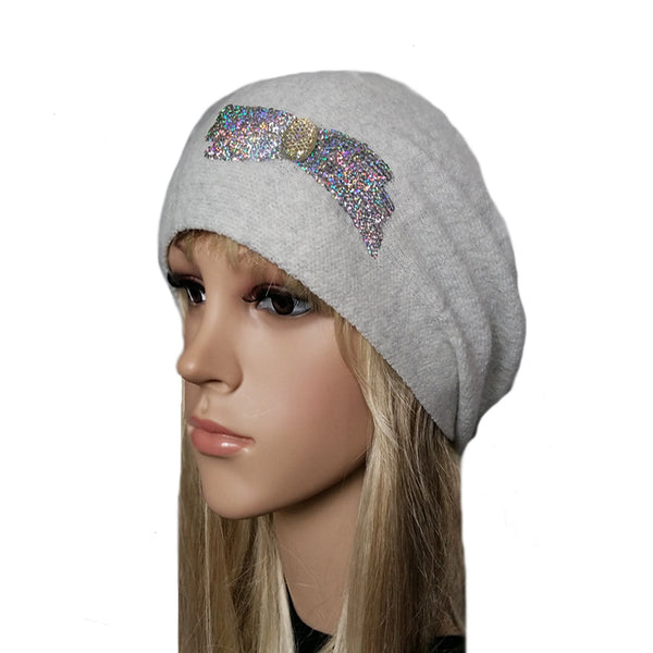 Wholesale Light gray slouch wool beanie beret