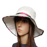White  Pink Summer Linen Women's Hat
