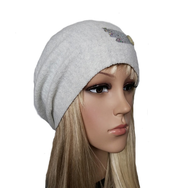 Wholesale Light gray slouchy wool beanie beret hat