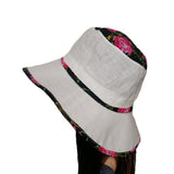 White/ Pink Sun Linen Women's Hat