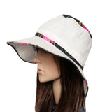 White/ Pink Summer Linen Ladies Hat