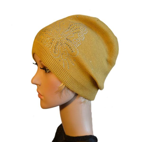 Yellow knitted wool slouch beanie for women in bulk