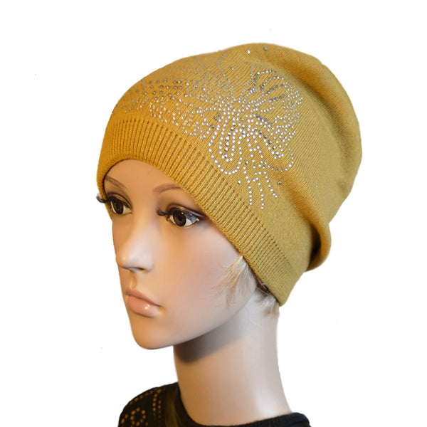 Wholesale Mustard knitted wool slouch beanie for women