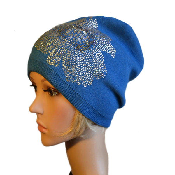 Wholesale Blue knit womens beanie hat rhinestone applique
