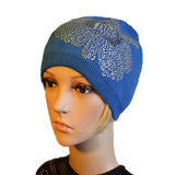 Wholesale Blue knit beanie hat rhinestone applique