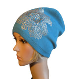 Light Blue knit wool womens beanie hat in bulk