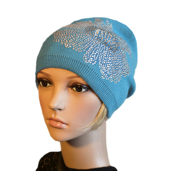 Wholesale knitted wool womens beanie rhinestone applique