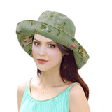 Summer Women's Cotton Hat with Wide Brim - Green Hat