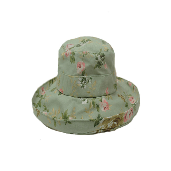 Summer Women's Cotton Hat with Wide Brim - Olive Sun Hat