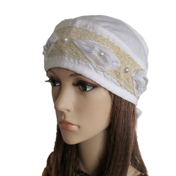 Women's White Summer Bandana Hat