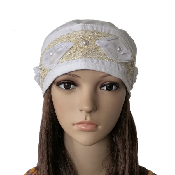 Women's White Summer Bandana Cap