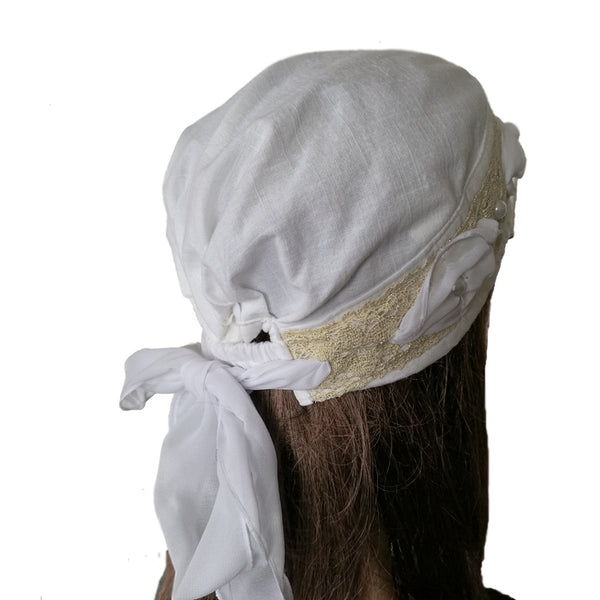 Women's White Linen Bandana Hat