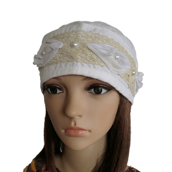 Women's White Summer Bandana Hat Beanie