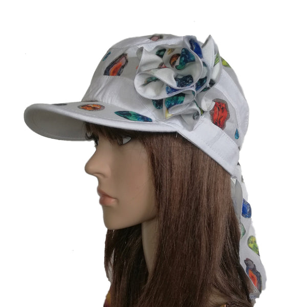 Summer Women's Bandana with Visor - Sun Linen Cap for Sun Protection