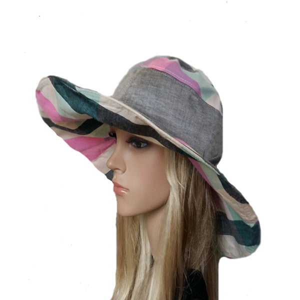 Wide brim pink emerald hat for women