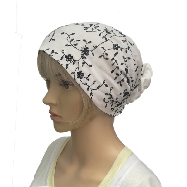 Wholesale White/Black Women's Full Bandana Hat