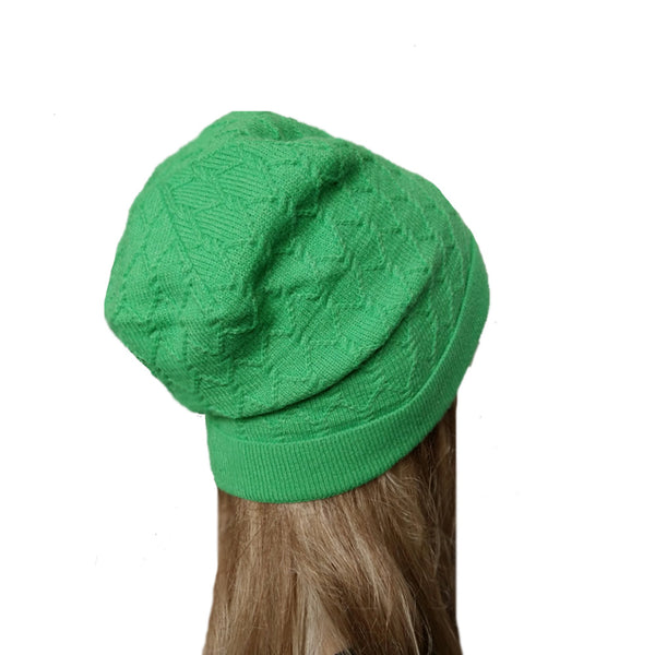Green knit wool women's beanie for winter fall