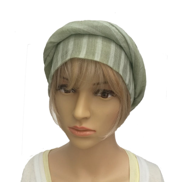 Wholesale Ladies Green  Linen Full Turban