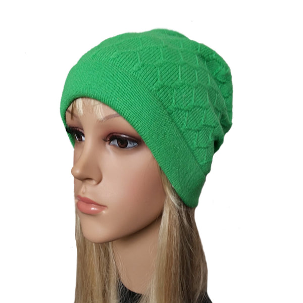 Green knit wool women's beanie
