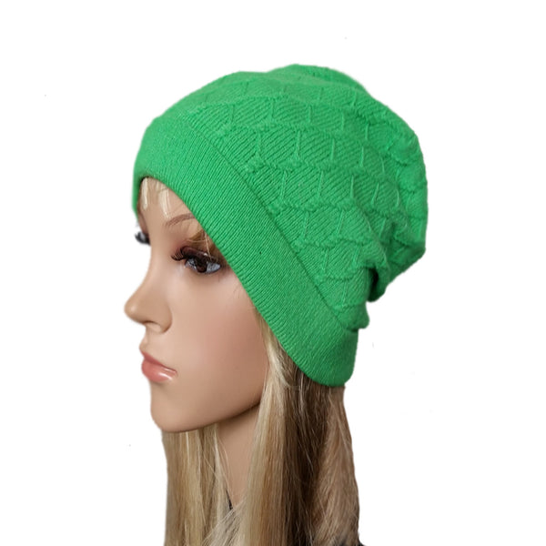 Green knit wool women's hat