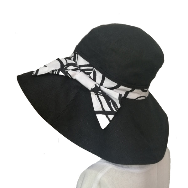 Wholesale Linen Sun Women's Hat Black White Hat