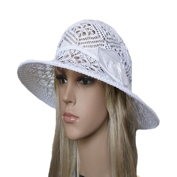 White summer knit ladies hat