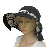 Wholesale Linen Sun Women's Hat  Organic Black White Hat