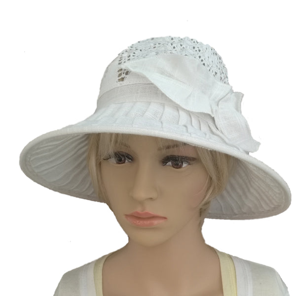 Linen Suns Hat for Women Wide Brim Lace Cotton Brimmed Summer Hat