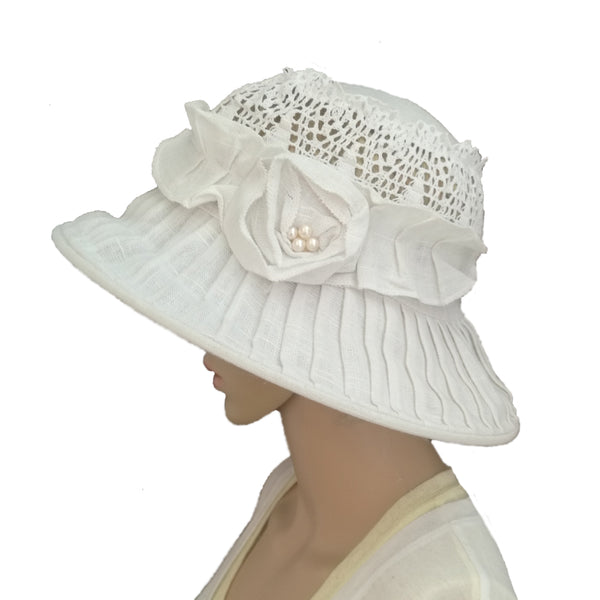 Linen Suns Hat for Women Wide Brim Brimmed Summer Hat