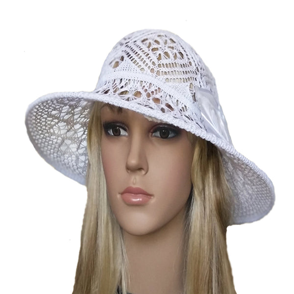 White summer knit wide brim hat for lady