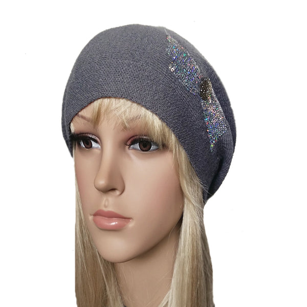 Wholesale Gray slouchy knit beanie beret