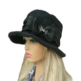 Wholesale Black Floppy Linen Hat for lady