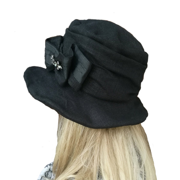 Wholesale Black Floppy Linen Hat for church