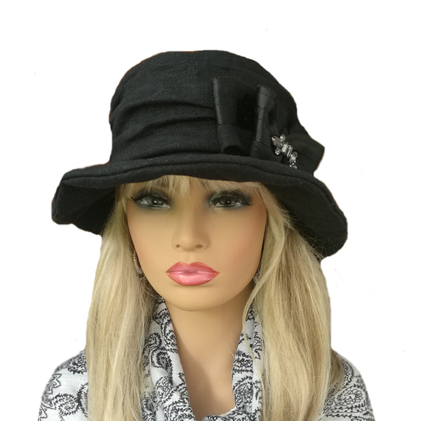 Wholesale Black Floppy Linen Dress Hat