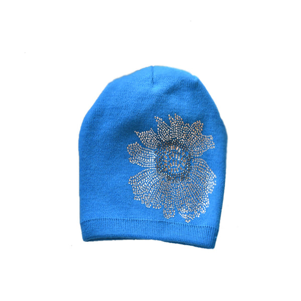 Wholesale Blue knitted womennie hat rhinestone appliques bea