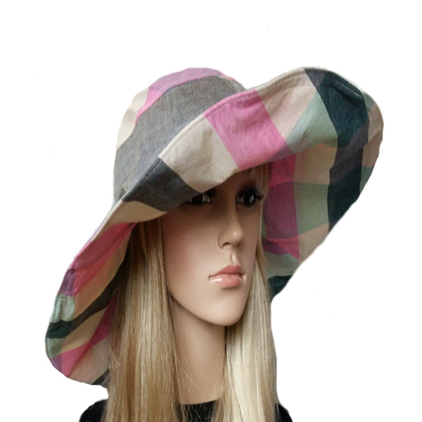 Wide brim pink emerald boho hat for women