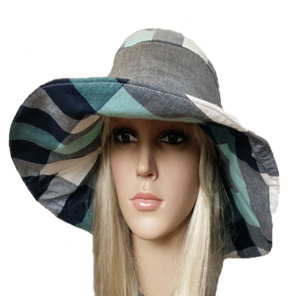 Wide brim gray emerald hat for women