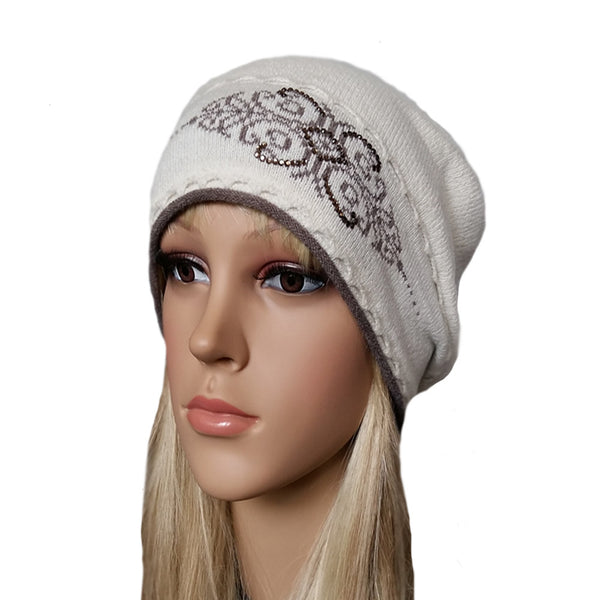 Wholesale White wool knit women's beanie for winter , fall, spring
