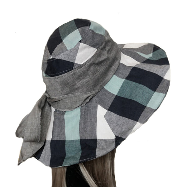 Wide brim gray emerald boho hat for women