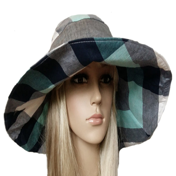 Wide brim gray emerald bohemian hat for women