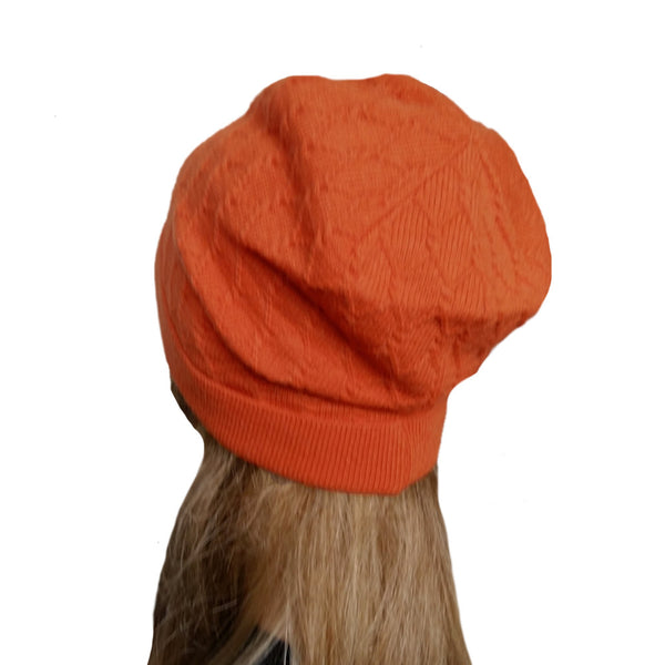 Orange knit wool women's slouchy beanie