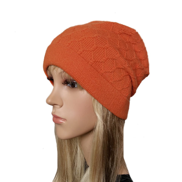 Orange knit wool women's beanie