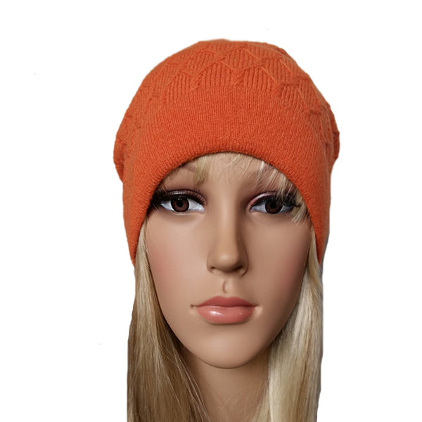 Orange knit wool women's hat