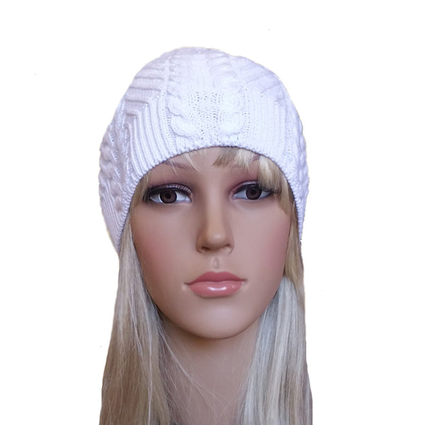 Wholesale White Knit Beanie Cable Pattern for spring, fall, winter